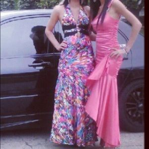 Colorful halter prom dress small open back